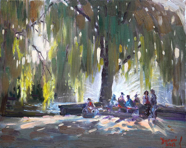 Lake Shore Wall Art - Painting - Sunday Afternoon By The Fontain by Ylli Haruni