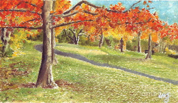 Beautiful Park Drawing - Sunday In The Park by Iris M Gross