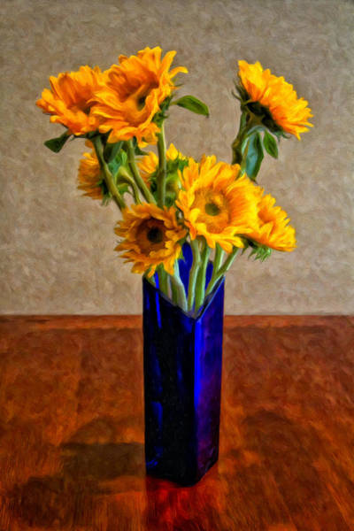 Painting - Sunflowers In A Blue Vase by Dominic Piperata