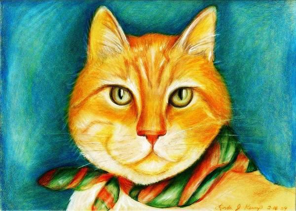 Orange Tabby Drawing - Sunny Boy by Linda Nielsen