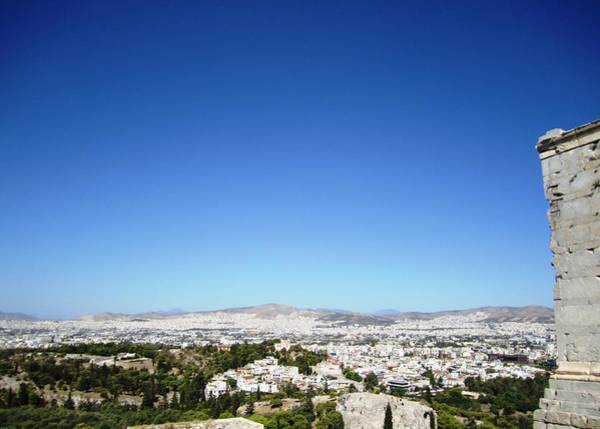 Photograph - Sunny View Of City Of Athens From Atop Of  Acropolis Parthenon Hilltop In Greece by John Shiron
