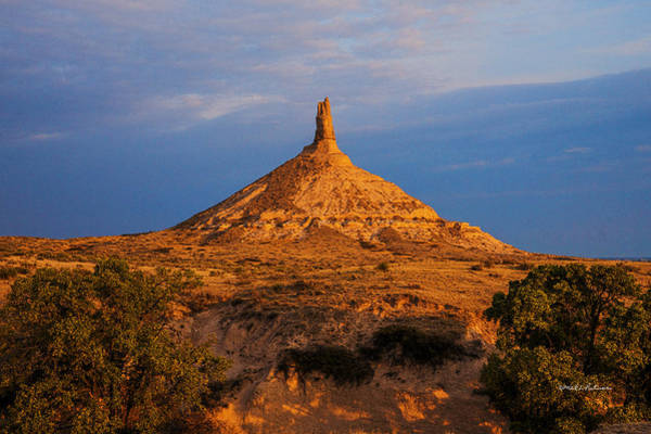 Photograph - Sunrise At Chimney Rock by Edward Peterson