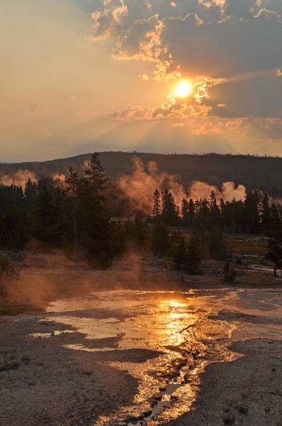 Photograph - Sunrise Near Yellowstone's Punch Bowl Spring by Bruce Gourley