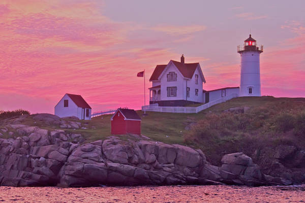 Photograph - Sunrise Nubble Lighthouse by Dale J Martin