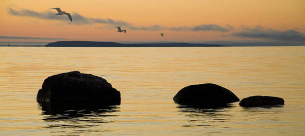 St Ignace Wall Art - Photograph - Sunrise With Gulls At St. Ignace Michigan by Randall Nyhof