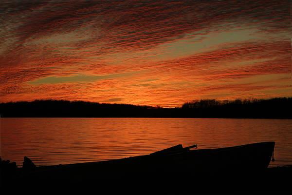 Sunset And Kayak Art Print
