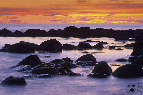 Gros Morne Photograph - Sunset And Rocky Coastline, Gros Morne by John Sylvester