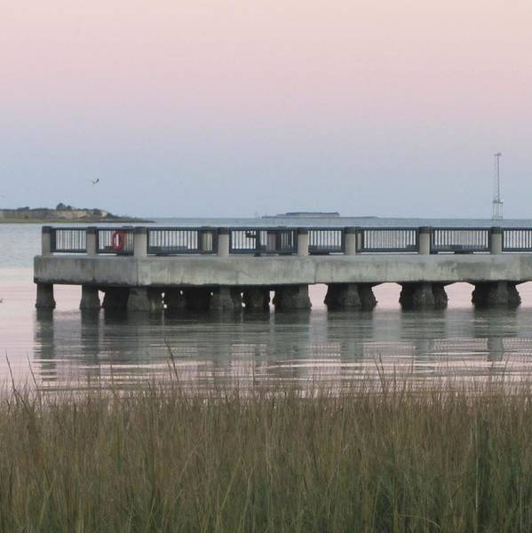Low Battery Photograph - Sunset At Charleston Bay 3 by Cathy Lindsey