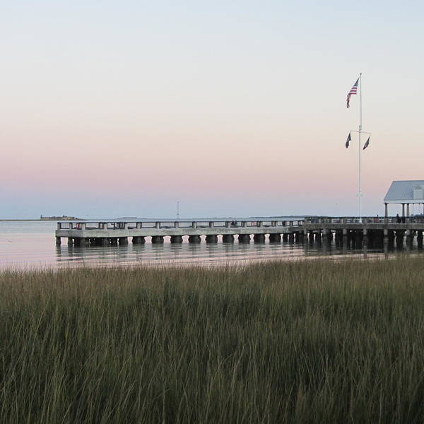 Low Battery Photograph - Sunset At Charleston Bay 5 by Cathy Lindsey