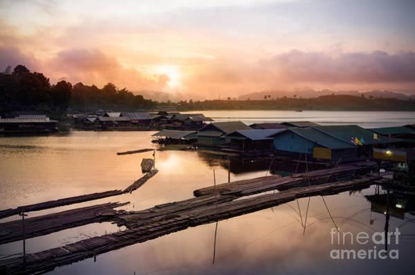 Raft Wall Art - Photograph - Sunset At Fisherman Villages  by Setsiri Silapasuwanchai