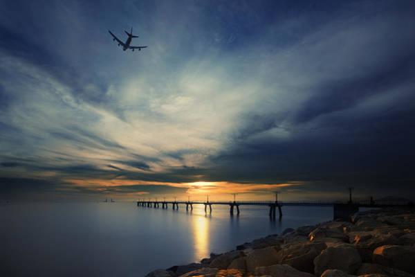 Hongkong Photograph - Sunset At Hong Kong Airport China by Afrison Ma
