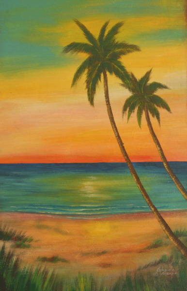 Wall Art - Painting - Sunset At The Beach by Gabriela Valencia