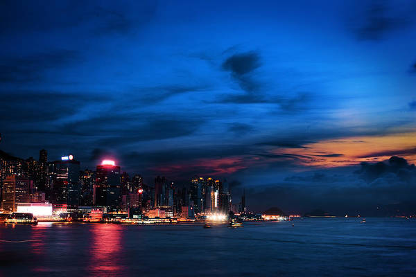 Hongkong Photograph - Sunset At Victoria Harbour by Afrison Ma