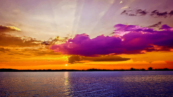 Nadine Painting - Sunset by Bob and Nadine Johnston