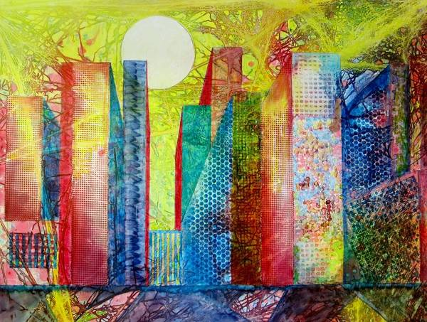 Primary Colors Mixed Media - Sunset City by David Raderstorf