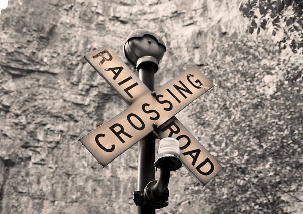 Rail Crossing Photograph - Sunset Crossing  by Betsy Knapp