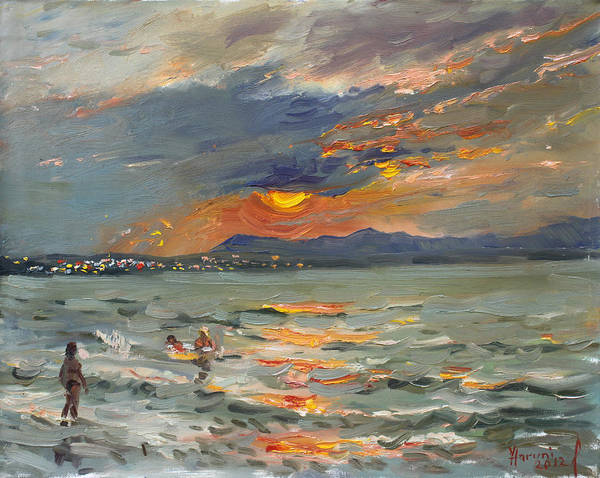 Swimming Painting - Sunset In Aegean Sea by Ylli Haruni