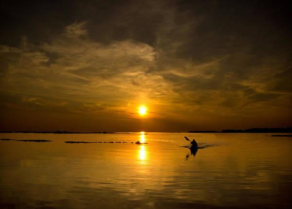 Huron Wall Art - Photograph - Sunset Kayak by Cale Best