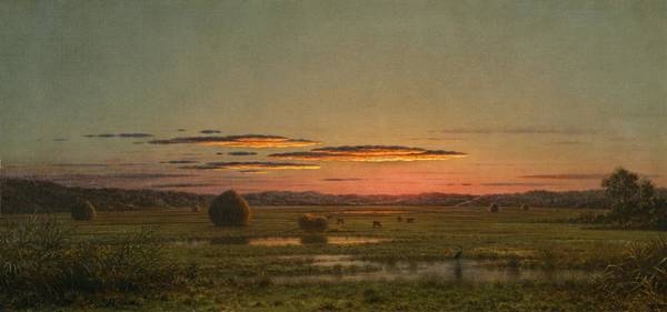 Red Wagon Wall Art - Painting - Sunset by Martin Johnson Heade