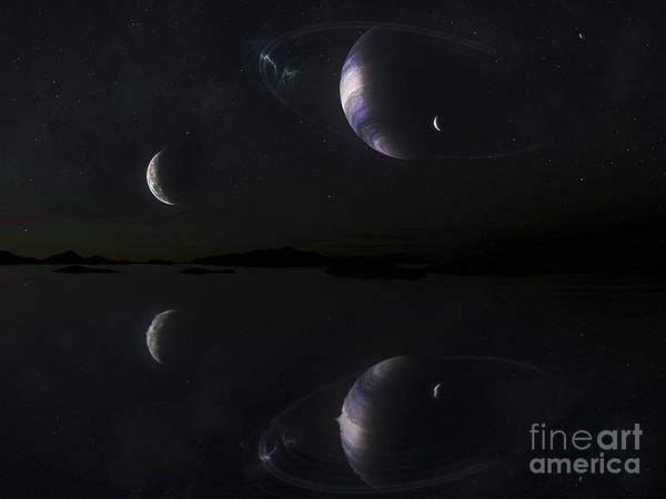 Cosmology Digital Art - Sunset On Epsilon Eridani B5 by Kevin Lafin