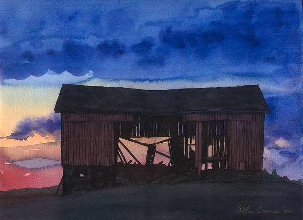 Ashes Painting - Sunset On The Barn by Arthur Barnes
