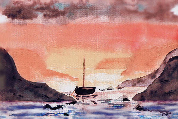 Wall Art - Painting - Sunset On The Water by Paula Ayers