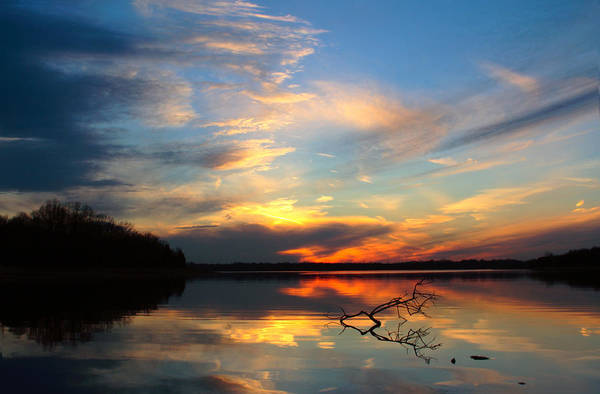 Photograph - Sunset Over Calm Lake by Daniel Reed