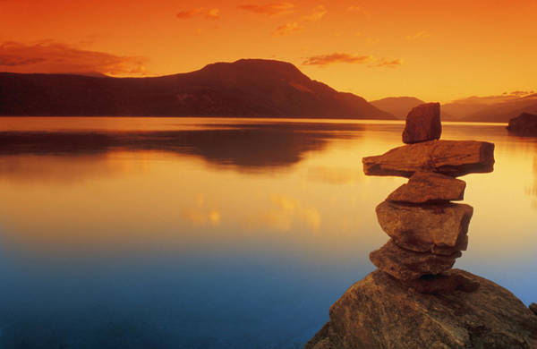 Oceanfront Photograph - Sunset Over Water, Shuswap Lake by Don Hammond