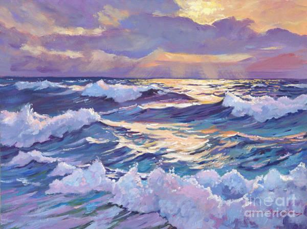 Blue Wave Painting - Sunset Santa Catalina by David Lloyd Glover