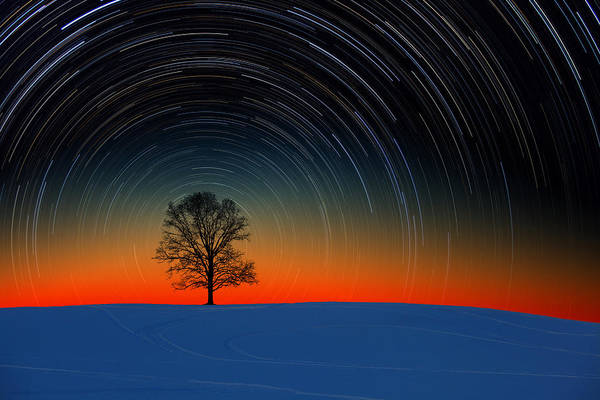 Sunset Star Trails Art Print