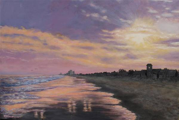 Wall Art - Painting - Sunset Surf Reflections by Kathleen McDermott
