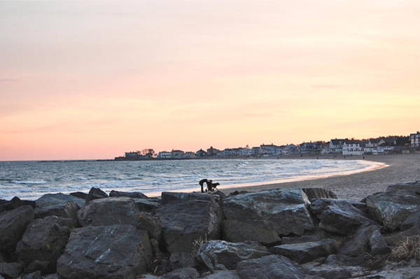 Photograph - Sunset Winter Beach Walk by Mary McAvoy