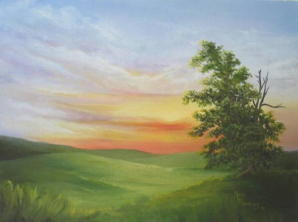 Mary Rogers Painting - Sunset With A Tree by Mary Rogers