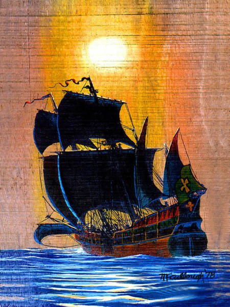 Painting - Sunship Galleon On Wood by Duane McCullough