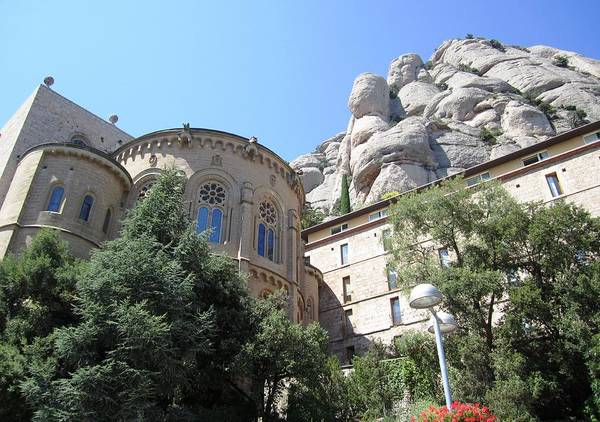 Photograph - Superb Montserrat Architecture Building Up On The Mountain In Spain Near Barcelona by John Shiron