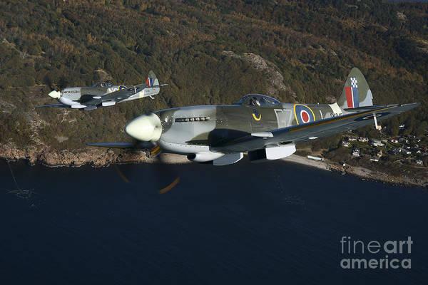 Interceptor Photograph - Supermarine Spitfire Mk. Xviii And Mk by Daniel Karlsson