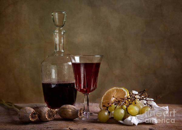 Flask Wall Art - Photograph - Supper With Wine by Nailia Schwarz