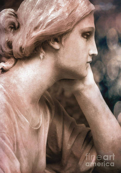 Cemetery Digital Art - Surreal Female Face Dreamy Contemplation Statue Cemetery Mourners by Kathy Fornal