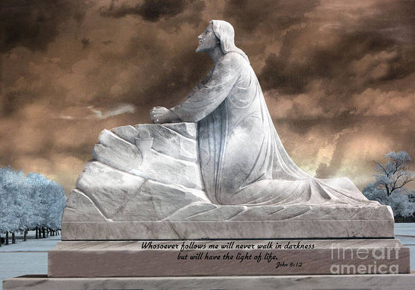 Scripture Photograph - Jesus Christian Art  - Jesus Kneeling With Bible Scripture Quote by Kathy Fornal
