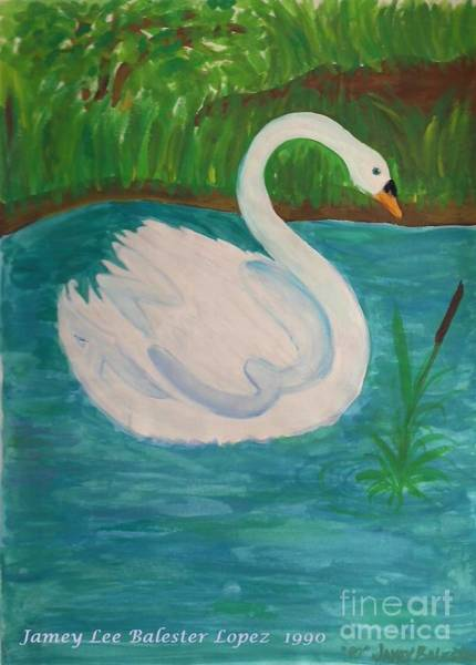 Water Foul Painting - Swan On The Lake by Jamey Balester