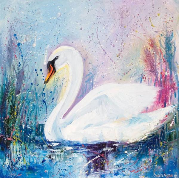 Snowdrop Painting - Swan by Zlatomira Angelova