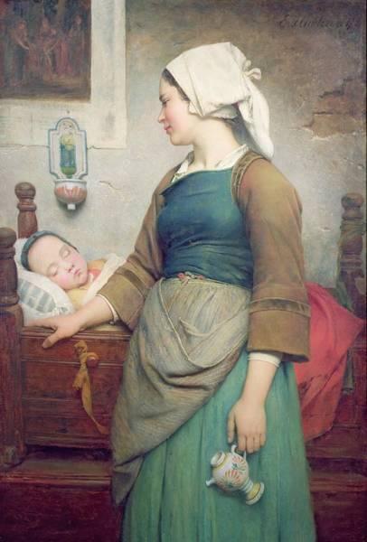Asleep Painting - Sweet Slumber by Emile Auguste Hublin