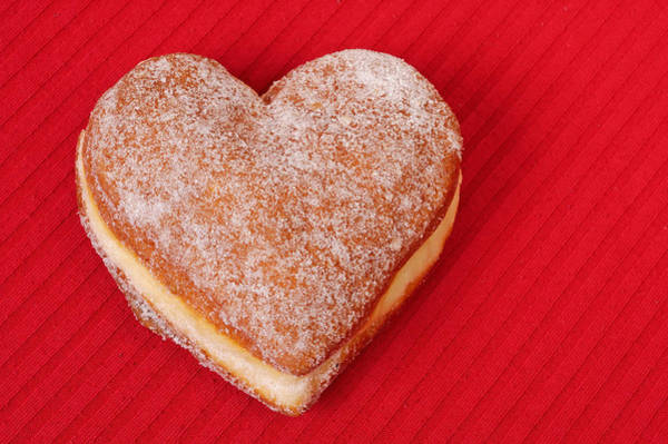 Krapfen Wall Art - Photograph - Sweet Valentine Love - Heart-shaped Jam-filled Donut by Matthias Hauser