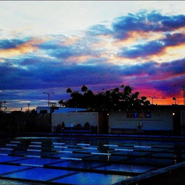 Wall Art - Photograph - #swim #pool #sunset #sky #skies #clouds by Cynthia Lanting