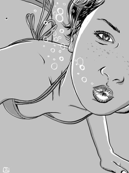 Girl Drawing - Swimming Girl by Giuseppe Cristiano