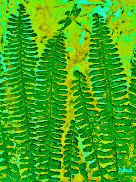 Wall Art - Painting - Sword Fern Fossil-green by Katherine Young-Beck