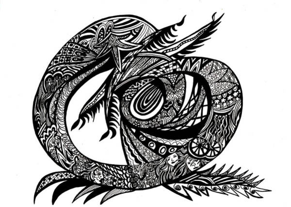 Wall Art - Drawing - Symbol Of The Dragon by Karen Elzinga