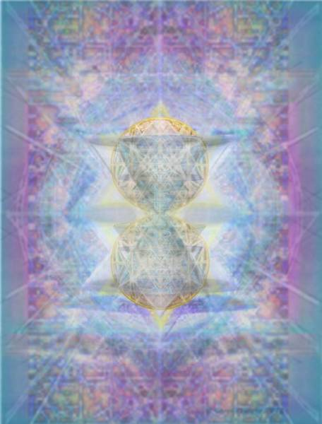 Digital Art - Synthecentered Doublestar Chalice In Blueaurayed Multivortexes On Tapestry by Christopher Pringer
