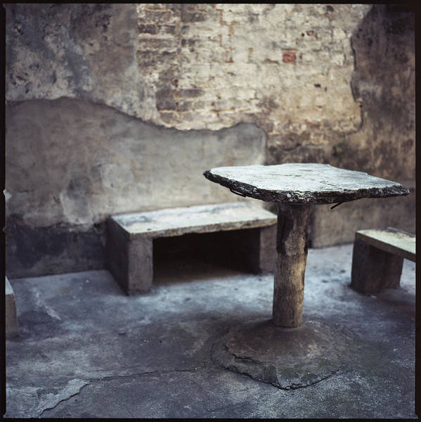 Brick Wall Photograph - Table And Bench by Oliver Rockwell