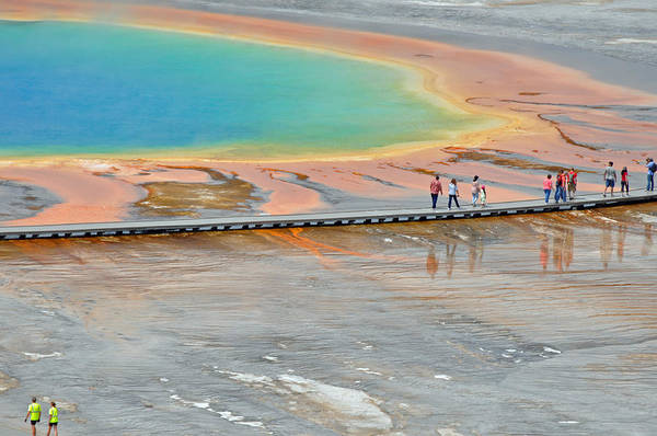 Photograph - Taking A Stroll At Yellowstone's Grand Prismatic by Bruce Gourley